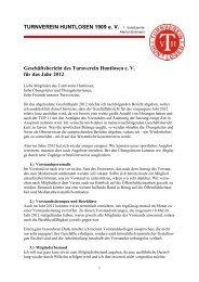 Geschäftsbericht der 1. Vorsitzenden - Turnverein Huntlosen eV 1909