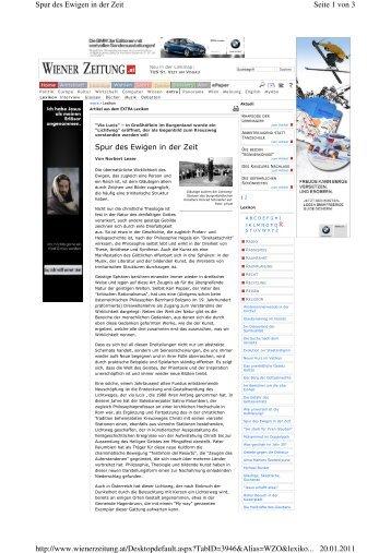 Seite 1 von 3 Spur des Ewigen in der Zeit 20.01.2011 http://www ...