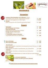 SPEISEKARTE Vorspeisen Suppen Salate - Restaurant Panorama