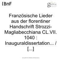Französische Lieder aus der florentiner Handschrift Strozzi ...