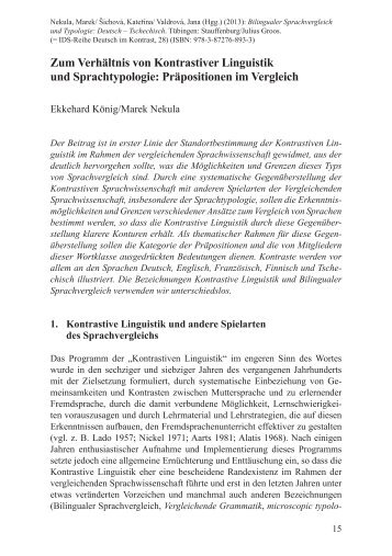 Zum Verhältnis von Kontrastiver Linguistik und Sprachtypologie ...