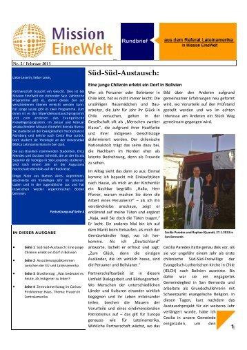 Süd-Süd-Austausch: - Mission Einewelt