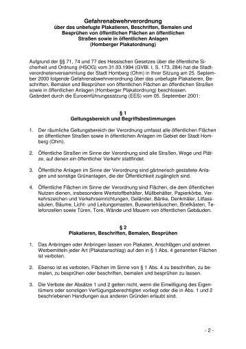 Gefahrenabwehrverordnung über das unbefugte ... - Homberg, Ohm