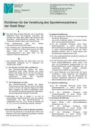 Richtlinien für die Verleihung des Sportehrenzeichens der Stadt Steyr