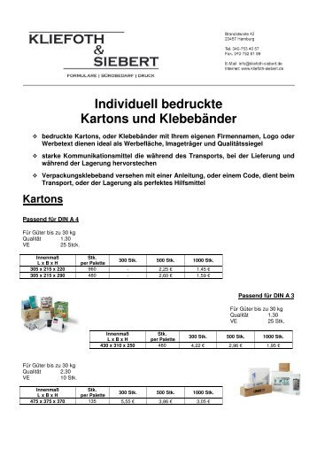 Individuell bedruckte Kartons und Klebebänder - Kliefoth & Siebert
