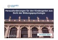 Herausforderungen für den Kindergarten aus Sicht der ...