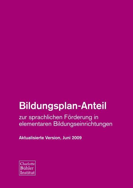 Bildungsplan-Anteil zur sprachlichen Förderung in elementaren ...