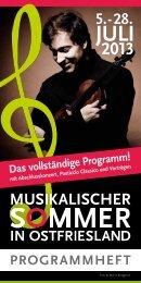PROGRAMMHEFT - Musikalischer Sommer in Ostfriesland 2013