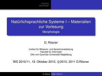Morphologie - Otto-von-Guericke-Universität Magdeburg