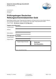 Prüfungsbogen Deutsches Rettungsschwimmabzeichen Gold - DLRG