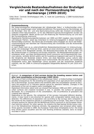 Regulus Wissenschaftliche Berichte 26 - Haus vun der Natur