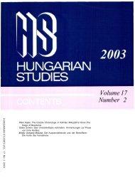 HUNGARIAN STUDIES 17. No. 2. Nemzetközi Magyar ... - EPA