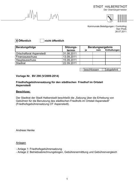 BV 290 - Friedhofsgebührensatzung OT Aspenstedt - Halberstadt