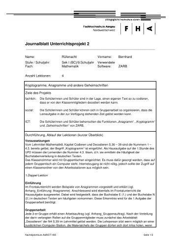 Journalblatt Unterrichtsprojekt 2 - Ressourcen für die Vorbereitung ...