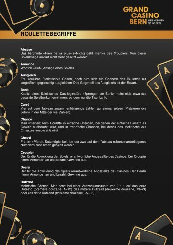 Die wichtigsten Rouletteregeln (PDF) - Grand Casino Bern