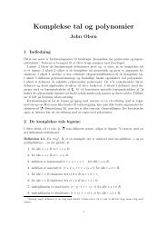 Komplekse tal og polynomier (pdf) - Johno.dk