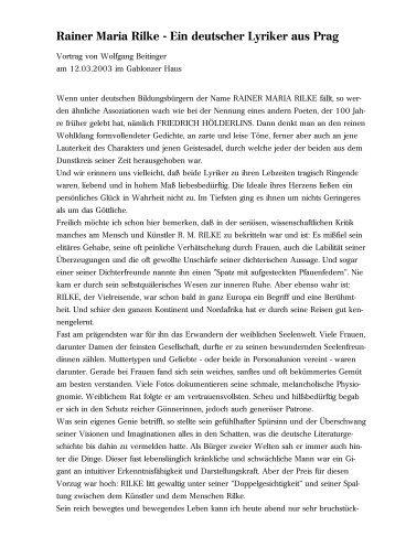Rainer Maria Rilke - Ein deutscher Lyriker aus Prag - Vorträge von ...