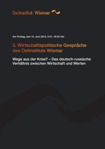 Programm zum Download - Ostinstitut Wismar