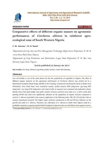 Sources of Organic Fertilizers and Amendments
