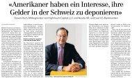 «Amerikaner haben ein Interesse, ihre Gelder in der Schweiz zu ...