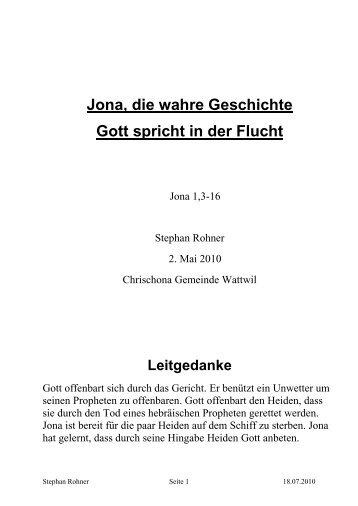 Jona, die wahre Geschichte Gott spricht in der Flucht - Chrischona ...