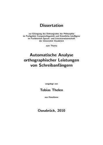 Dissertation Automatische Analyse orthographischer Leistungen ...