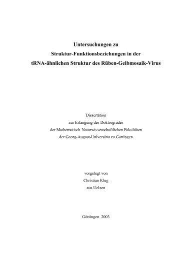 Untersuchungen zu Struktur-Funktionsbeziehungen in der trna ...