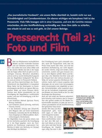 Presserecht (Teil 2): Foto und Film - Michael Schmuck