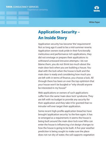 Application Security - An Inside Story - TCS