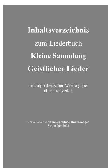 Inhaltsverzeichnis Geistlicher Lieder - CSV-Verlag