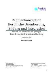 Rahmenkonzeption Berufliche Orientierung, Bildung und Integration