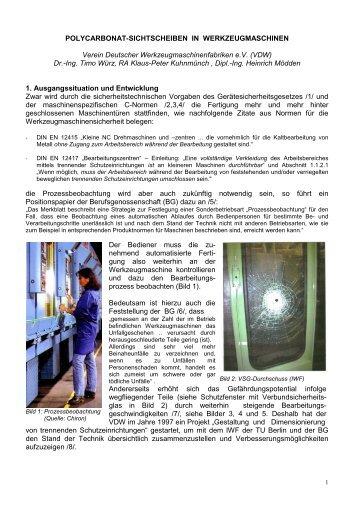 polycarbonat-sichtscheiben in werkzeugmaschinen - VDW