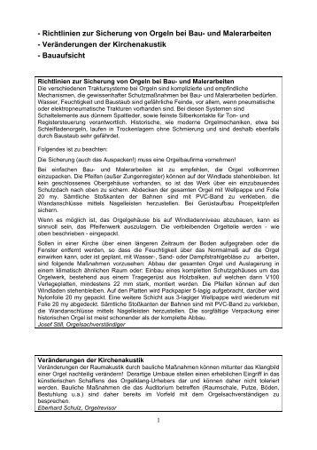 Richtlinien zur Sicherung von Orgeln bei Bau- und Malerarbeiten