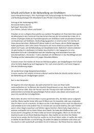 Schuld und Scham in der Behandlung von Straftätern - Szondi-Institut
