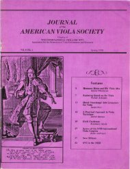 Journal of the American Viola Society Volume 6 No. 1, Spring 1990