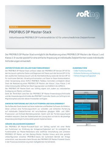 PROFIBUS DP Master-Stack Datenblatt - Softing Industrial Automation