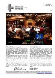 SGA-Bulletin 1/2003 Courrier SSA - Schweizerische Gesellschaft für ...