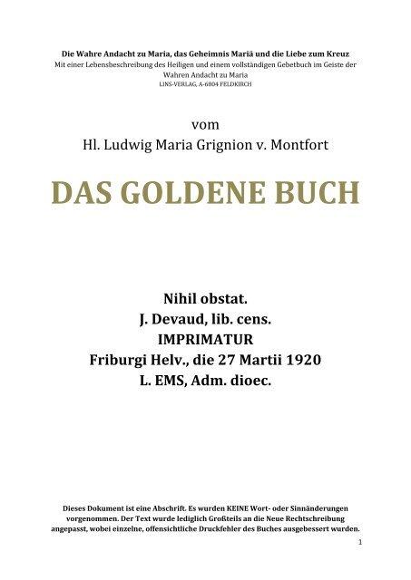 Ludwig Maria De Grignion Das Goldene Buch Gott Ist Die Liebe