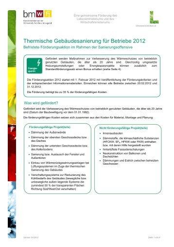 Sanierungsscheck - Infoblatt für Betriebe und Private