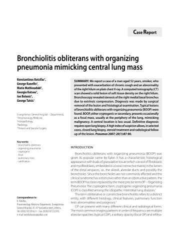 the classification causes and treatment of bronchiolitis obliterans organizing pneumonia Drug-induced bronchiolitis obliterans organizing pneumonia gary r epler several classes of medications cause the of beginning this treatment.