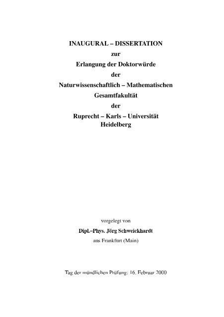 Jörg Schweickhardt - Ruprecht-Karls-Universität Heidelberg