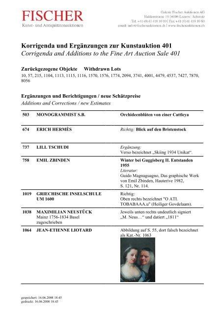 Korrigenda Auktion 401 - Galerie Fischer Auktionen AG
