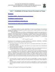 Aula 7 – Estabilidade de Sistemas Lineares Invariantes no Tempo
