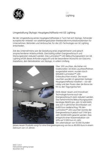 Fallstudie als PDF Dokument herunterladen - GE Lighting