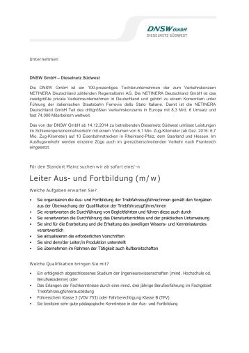 Leiter Aus- und Fortbildung (m/w) - DNSW GmbH