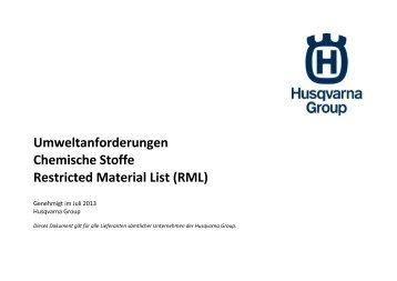 Umweltanforderungen Chemische Stoffe ... - Husqvarna Group
