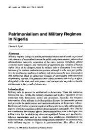 Patrimonialism and Military Regimes in Nigeria