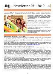 Newsletter der - LKJ Sachsen-Anhalt e.V