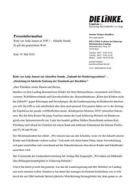 """Rede von Antje Jansen zur Aktuellen Stunde """"Zukunft"""
