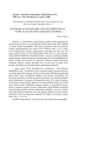 kavram alanı-kelime ailesi ilişkileri ve türk yazı dilinin eskiliği üzerine